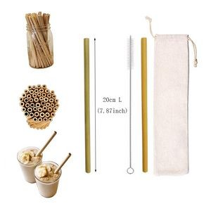 Reusable Bamboo Drinking Straw W/ Cotton Pouch