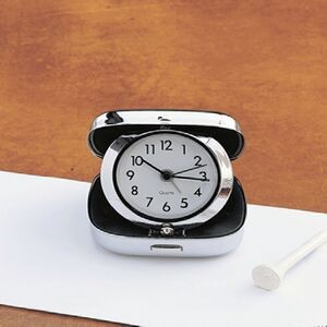 "Sq. Travel Alarm Clock (Folds), SS 2.5"" (Screened)"