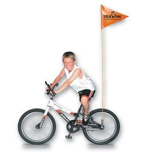 "Bike Safety Flag w/Fiberglass Pole (1 Side- 10""x12"")"