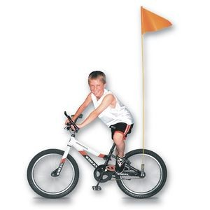 "Bike Safety Flag w/Fiberglass Pole (10""x12"")"