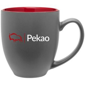 15oz Bistro Mug (Matte Gray & Glossy Red)