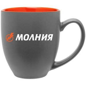 15oz Bistro Mug (Matte Gray & Glossy Orange)