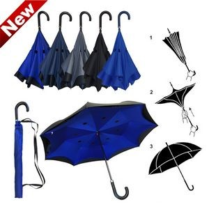 Inverted / Reversed Double Layer Straight Umbrella with Curved Leather Handle